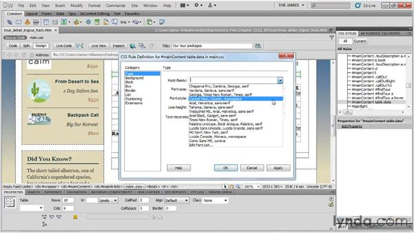 Basic table styling: Dreamweaver CS5 Essential Training