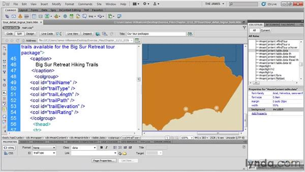 Styling column groups: Dreamweaver CS5 Essential Training