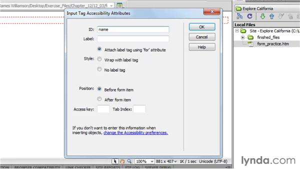 Creating accessible forms: Dreamweaver CS5 Essential Training