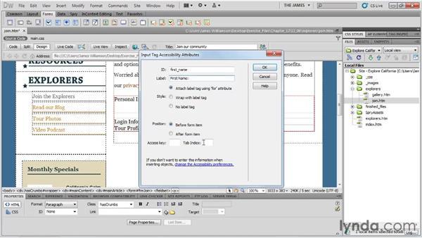 Inserting text fields: Dreamweaver CS5 Essential Training