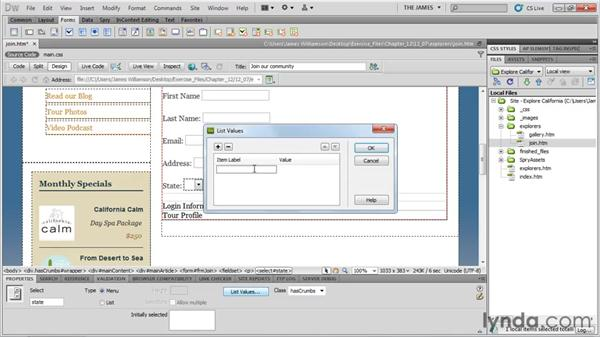 Inserting list menu items: Dreamweaver CS5 Essential Training
