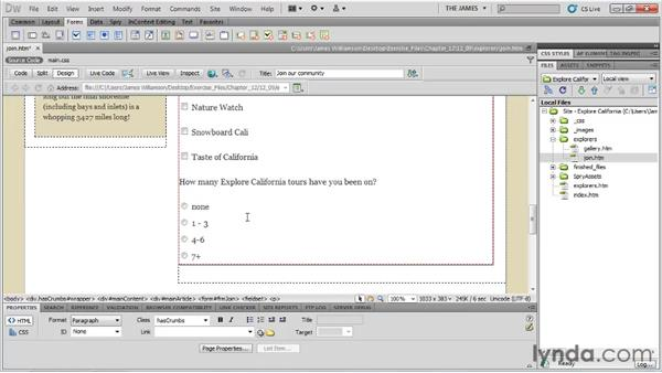 Inserting radio button groups: Dreamweaver CS5 Essential Training