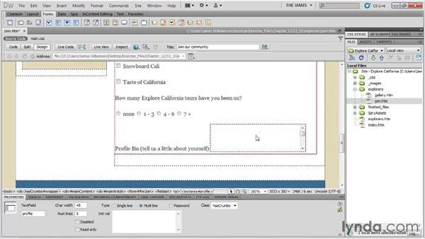 Inserting text areas: Dreamweaver CS5 Essential Training