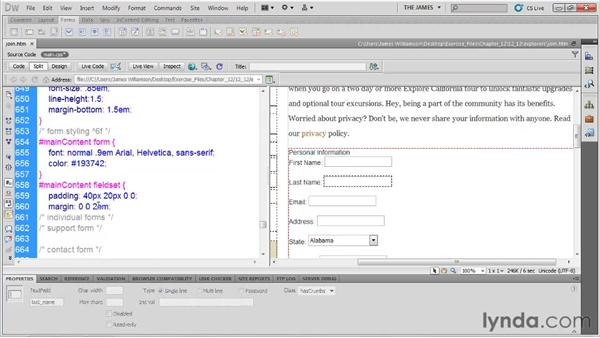 Basic form styling: Dreamweaver CS5 Essential Training