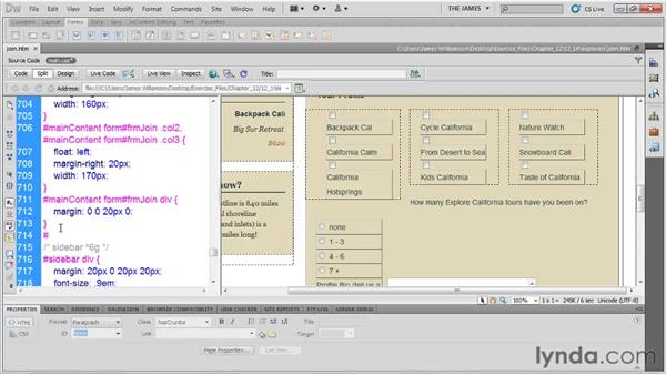 Styling form layout: Dreamweaver CS5 Essential Training