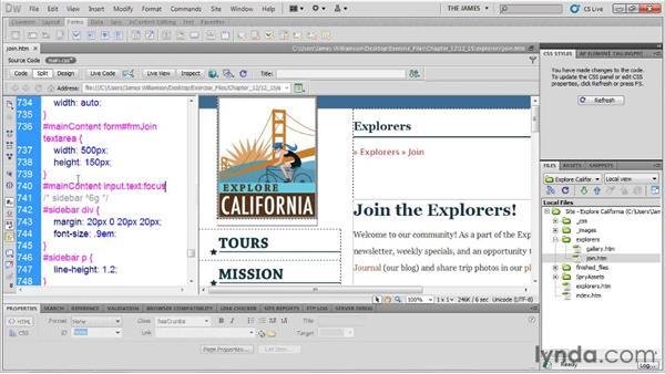 Adding form interactivity: Dreamweaver CS5 Essential Training