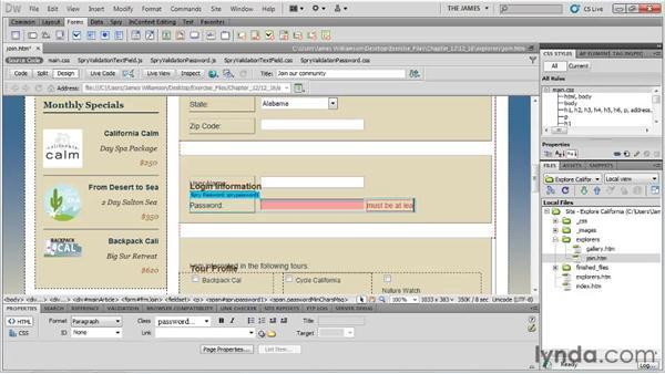 Using Spry validation widgets: Dreamweaver CS5 Essential Training
