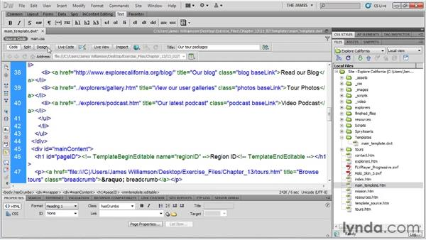 Creating a new template: Dreamweaver CS5 Essential Training