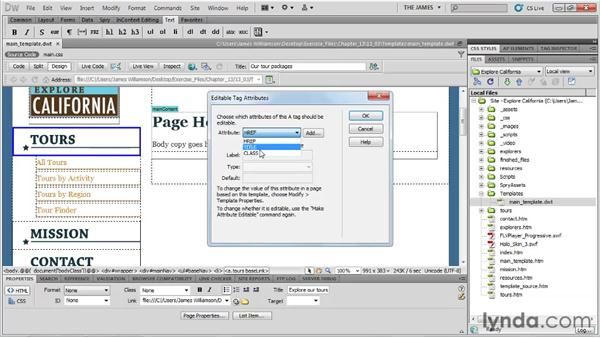 Using editable attributes: Dreamweaver CS5 Essential Training