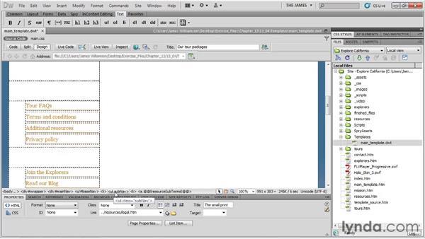 Creating optional regions: Dreamweaver CS5 Essential Training
