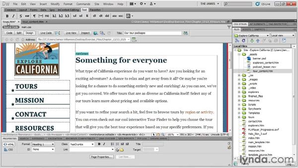 Creating new pages from a template: Dreamweaver CS5 Essential Training