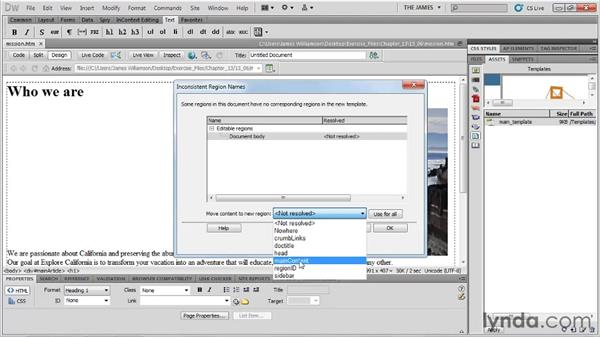 Applying templates to existing pages: Dreamweaver CS5 Essential Training
