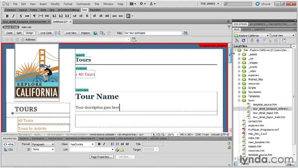Working with nested templates: Dreamweaver CS5 Essential Training
