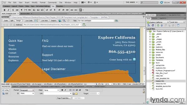 Modifying templates: Dreamweaver CS5 Essential Training