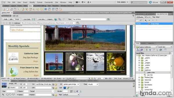 Hiding and showing elements: Dreamweaver CS5 Essential Training