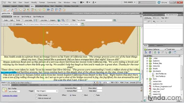 Using Spry widgets: Dreamweaver CS5 Essential Training