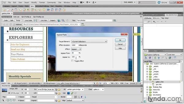 Adding Spry effects: Dreamweaver CS5 Essential Training