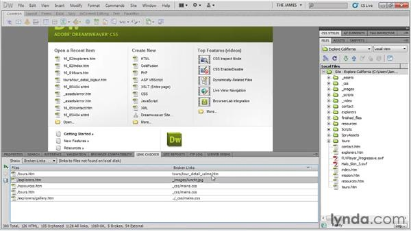 Checking for broken links: Dreamweaver CS5 Essential Training