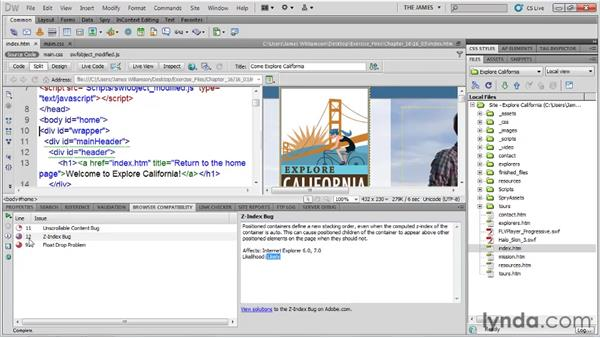 Checking for browser compatibility: Dreamweaver CS5 Essential Training