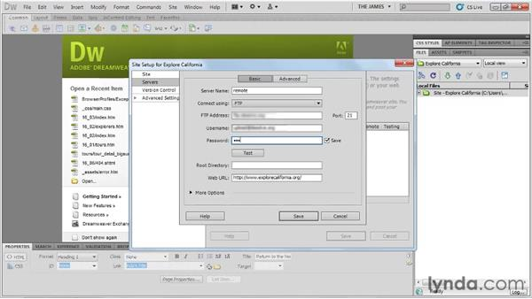 Adding remote servers: Dreamweaver CS5 Essential Training