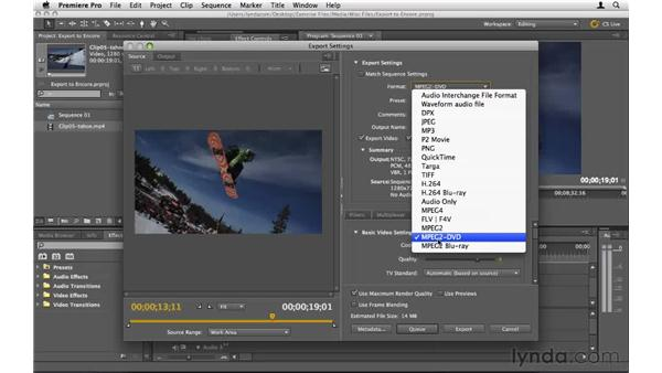 Exporting video for Encore: Encore CS5 Essential Training
