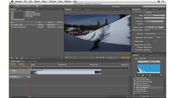 Importing assets as Encore objects: Encore CS5 Essential Training