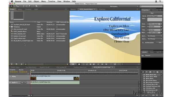 Using the Project panel: Encore CS5 Essential Training