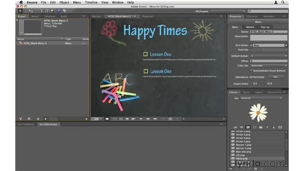Editing menus: Encore CS5 Essential Training