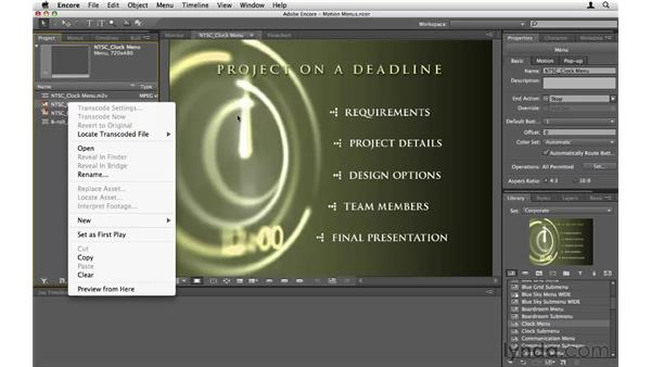Creating motion menus: Encore CS5 Essential Training