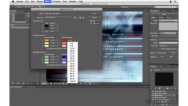 Changing subpicture colors: Encore CS5 Essential Training