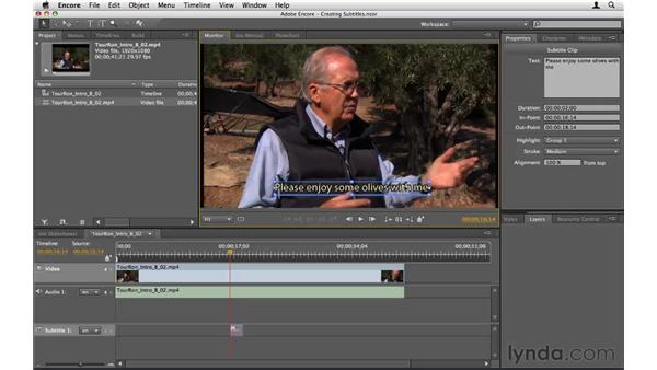Creating subtitles: Encore CS5 Essential Training