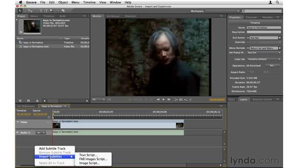 Importing and exporting subtitles: Encore CS5 Essential Training