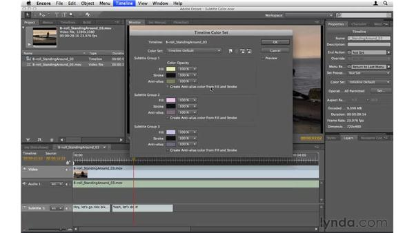 Changing subtitle color: Encore CS5 Essential Training