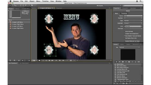 Using photos as subpictures: Encore CS5 Essential Training
