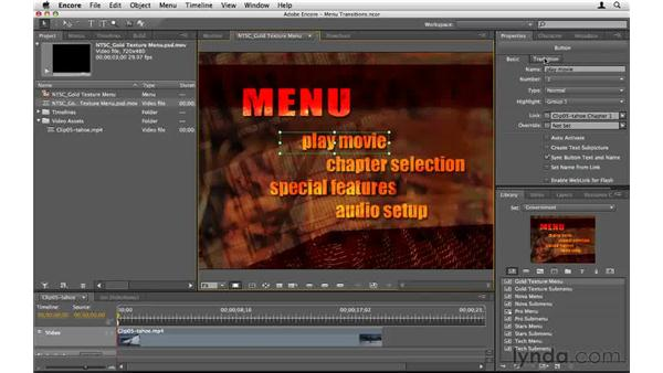 Using menu transitions: Encore CS5 Essential Training
