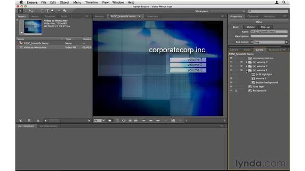 Creating a video menu: Encore CS5 Essential Training