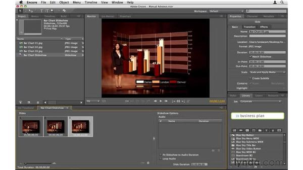 Creating slideshows with manual advance: Encore CS5 Essential Training