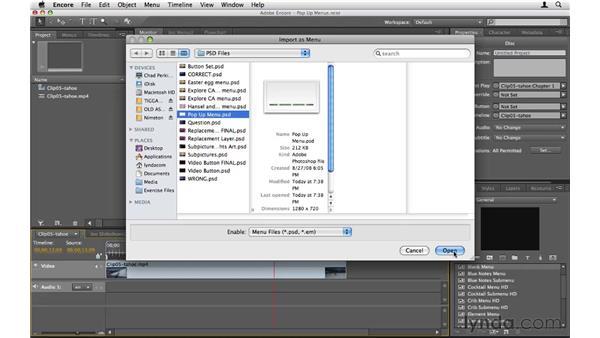 Creating Blu-ray pop-up menus: Encore CS5 Essential Training