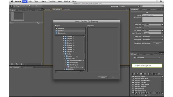 Importing sequences from Premiere Pro: Encore CS5 Essential Training