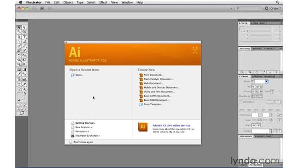 The Welcome screen: Illustrator CS5 Essential Training
