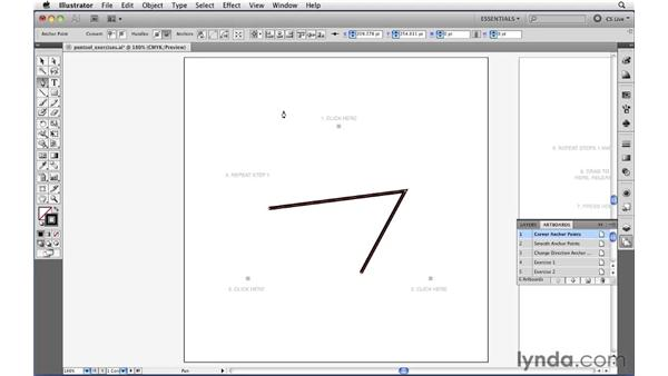 Drawing straight paths with the Pen tool: Illustrator CS5 Essential Training