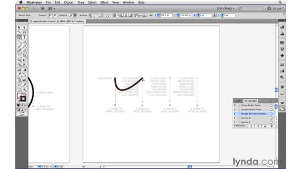Drawing curved paths with the Pen tool: Illustrator CS5 Essential Training