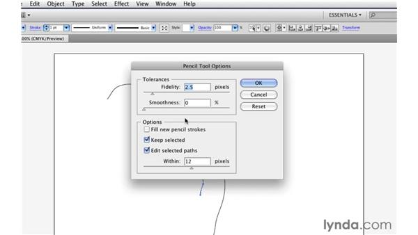 Drawing freeform paths with the Pencil tool: Illustrator CS5 Essential Training