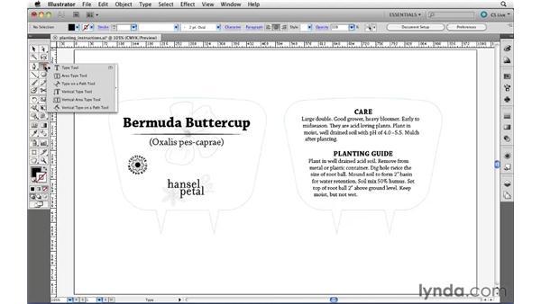 Creating point text: Illustrator CS5 Essential Training