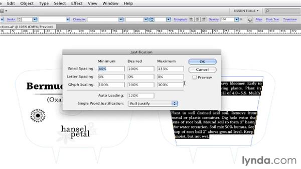 Applying basic paragraph settings: Illustrator CS5 Essential Training