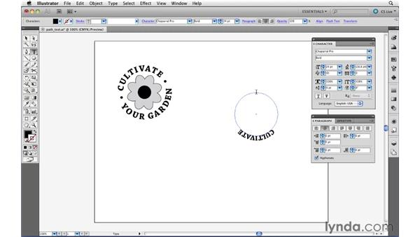 Setting text along a closed path: Illustrator CS5 Essential Training