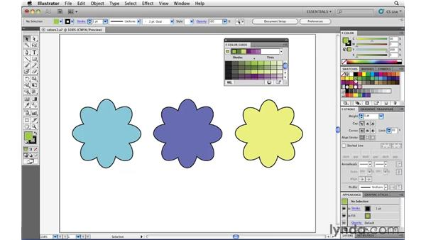 Finding color suggestions with the Color Guide panel: Illustrator CS5 Essential Training