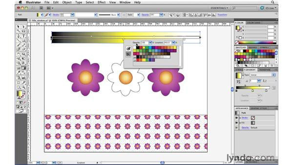 Modifying gradients with the Gradient Annotator: Illustrator CS5 Essential Training