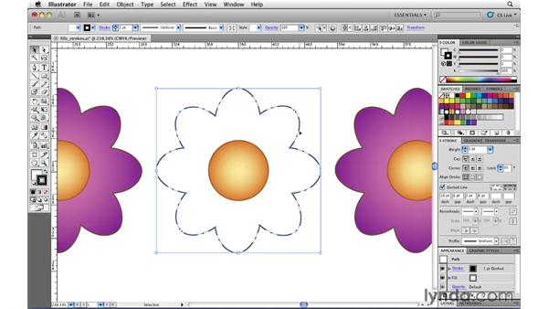 Creating strokes with dashed lines: Illustrator CS5 Essential Training