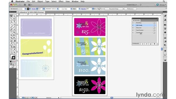 Modifying artboards with the Artboards panel: Illustrator CS5 Essential Training